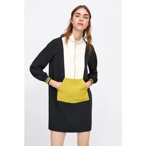 Zara Colour Block Sack Black Yellow Dress